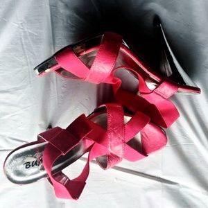Hot Pink high heel stilettos with silver heel